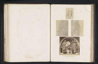 Zes fotoreproducties van een publicatie door de Arundel Society met een schilderij van Pinturicchio
