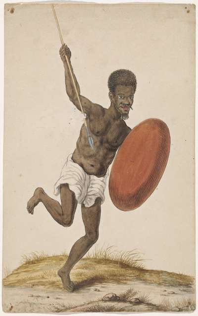 Malagassische krijger met assegai en schild
