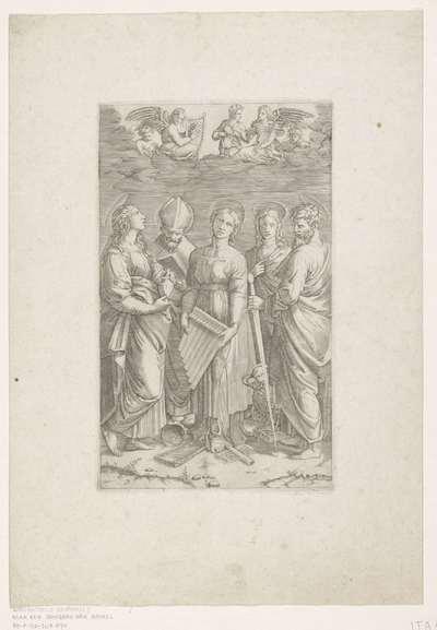 Heilige Cecilia met vier andere heiligen