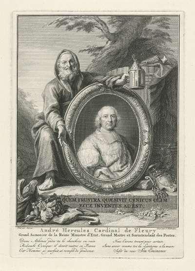 Diogenes bij een portret van André-Hercule de Fleury; André Hercules Cardinal de Fleury