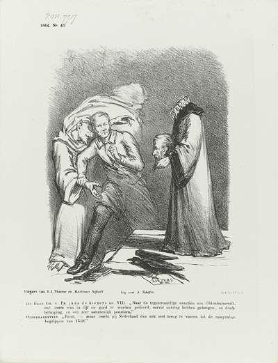 Spotprent op Groen van Prinsterer en de geest van Van Oldenbarnevelt, 1864