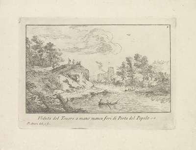 Landschap met de Tiber en de Porta del Popolo; Veduta del Tevere a mano manca fori di Porta Popolo; Varie Vedute