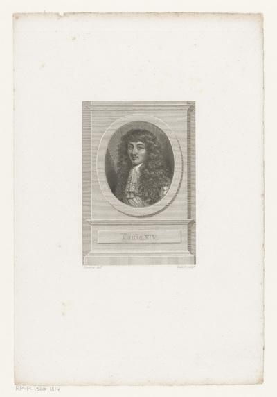Portret van Lodewijk XIV in ovale lijst; Louis XIV.