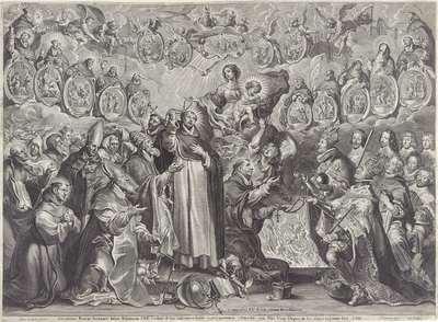 Filips IV en Ferdinand van Oostenrijk ontvangen rozenkransen van de H. Thomas