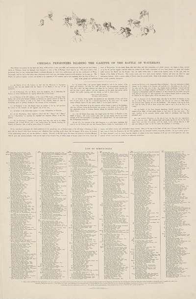 """Verklaring bij de """"Chelsea Pensioners Reading the Gazette of the Battle of Waterloo."""""""