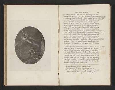 """Fotoreproductie van een illustratie door Thomas Stothard voor Eens Christens reize naar de Eeuwigheid door John Bunyan; """"Apollyon spread forth his Dragon's Wings and sped Him away."""""""