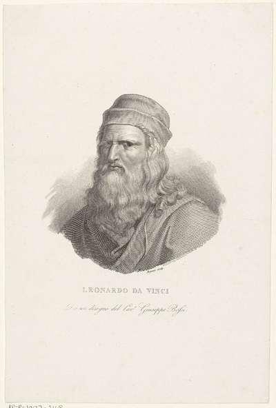 Portret van kunstenaar Leonardo da Vinci