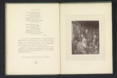 Fotoreproductie van een prent naar een schilderij van een gezelschap in een woonkamer, een illustratie bij het lied Duncan Gray, door David Wilkie; Duncan Gray