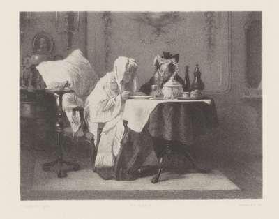 Twee oude dames eten soep