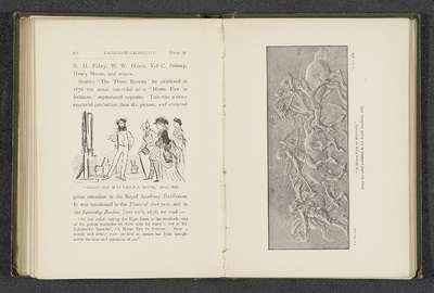 Fotoreproductie van een bronzen reliëf door Randolph Caldecott, voorstellend vier mannen met paarden; A Horse Fair in Brittany