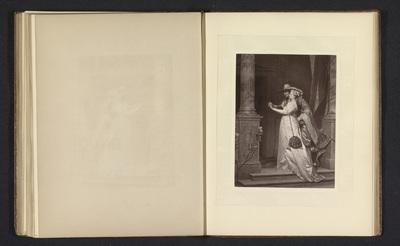 Fotoreproductie van een prent naar een schilderij van een man en een vrouw die een ring omdoet door Florent Joseph Marie Willems