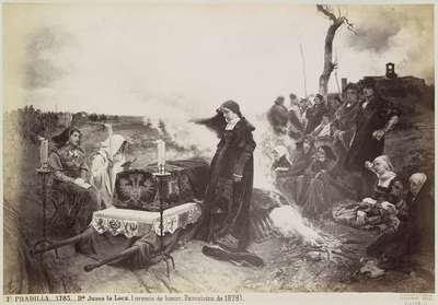 Fotoreproductie van een schilderij door Francisco Pradilla Ortiz, voorstellend Johanna van Castilië naast de doodskist van haar man; F. PRADILLA.- Da. Juana la Loca. (premio de honor. Exposicion de 1878).