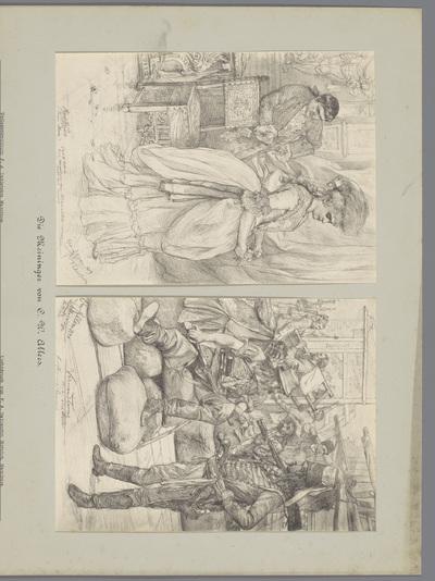 Twee fotoreproducties van tekeningen, voorstellende twee acteurs in kostuums en acteurs op een podium; Die Meininger von C. W. Allers