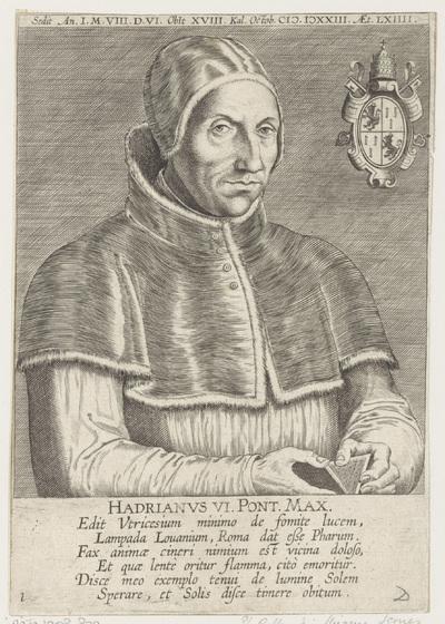 Portret van paus Adrianus VI op 64-jarige leeftijd; Portretten van beroemde Nederlandse en Vlaamse geleerden; Illustrium Galliae Belgicae scriptorum icones et elogi