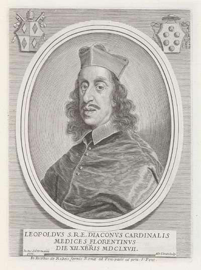 Portret van kardinaal Leopoldo de' Medici; Effigies Nomina et Cognomina S.D.N. Alexandri Papae VII et RR. DD. SRE. Cardd (...).