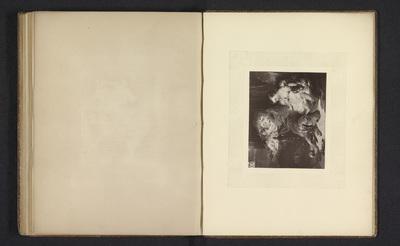 Fotoreproductie van een prent naar een schilderij met twee honden en kinderen door Edwin Henry Landseer