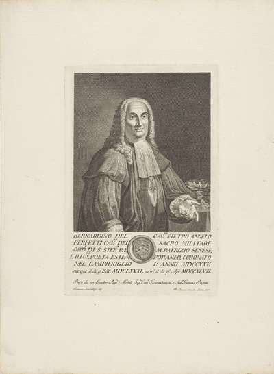Portret van jurist en dichter Bernardino Perfetti; Portretten van beroemde Italianen met wapenschild in ondermarge