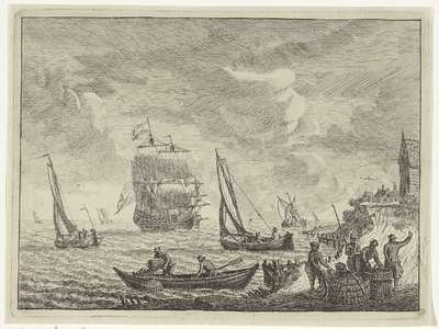 Zeegezicht met boten voor de kust