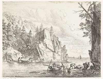 Rivierlandschap met vissers; Rijnlandschappen