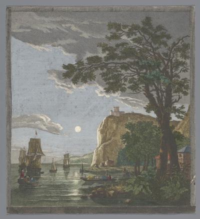Gezicht op een kust met schepen en boten op het water bij maanlicht; La pleine lune