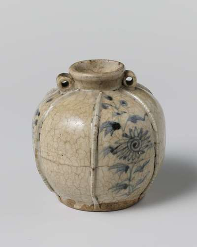 Image from object titled Jar with flower sprays and applied ribs on the sides