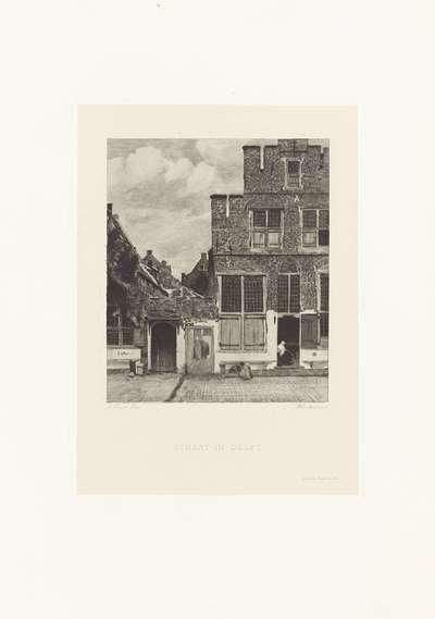 Gezicht op huizen in Delft, bekend als 'Het straatje'; Straat in Delft