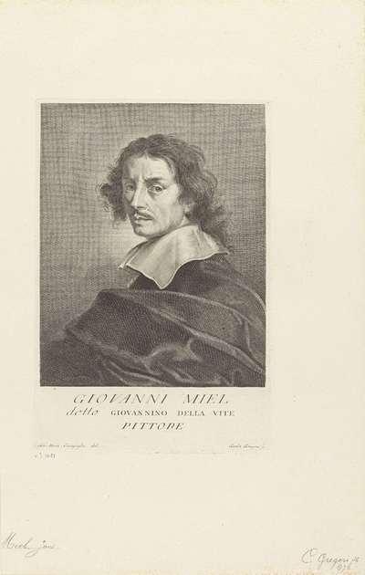 Portret van kunstenaar Jan Miel; Portretten van kunstenaars