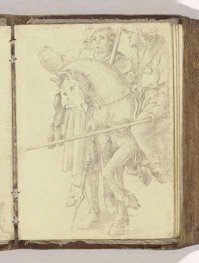 """Ruiter en wandelaar; Schetsboek """"A.S.Fe"""", 1587, blad 3r(12)"""