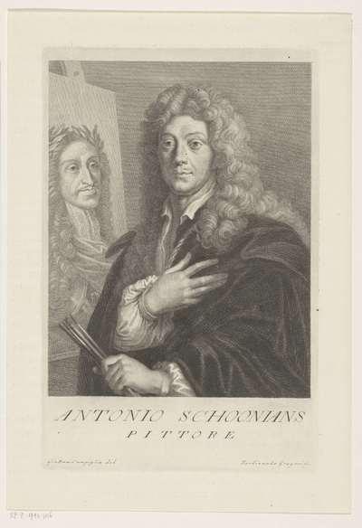 Portret van kunstenaar Anthon Schoonjans; Portretten van kunstenaars