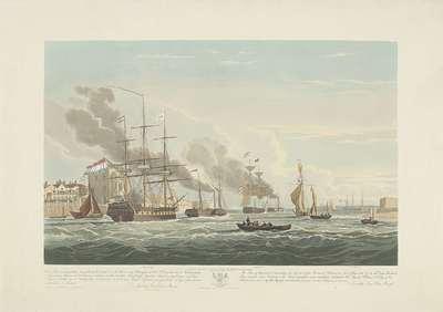 Vertrek van twaalf Nederlandse koopvaardijschepen uit de haven van Portsmouth, 1833 (plaat 2); Dit stel van drie platen voorstellende het vetrek uit de Haven van Portsmouth op den 2.d Juny 1833 van 12 Nederlandsche...