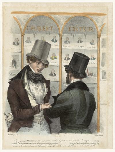 Twee mannen voor de etalage van uitgever Aubert te Parijs