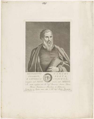 Portret van Benedetto Varchi; Portretten van beroemde Italianen met wapenschild in ondermarge