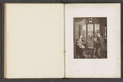 Fotoreproductie van een prent naar een schilderij, voorstellende Lucas tekent de Madonna