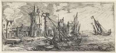 Aangemeerde schepen in de haven, nabij een ronde toren; Landschappen