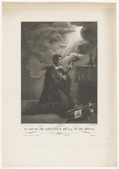 De heilige Aloysius Gonzaga, knielend aan een altaar; St. Louis de Gonsague de la Cie. de Jésus.