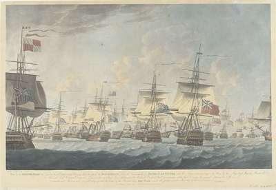 Slag bij Kamperduin (1797): aanval door de Britse vloot; View of the British Fleet at Noon on the 11 October 1797, Bearing down to attack the Dutch Fleet (...)