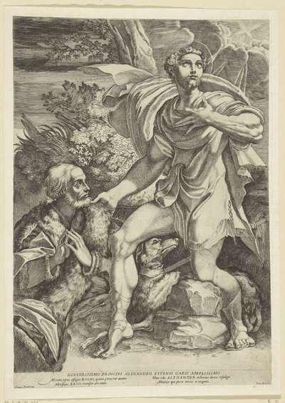 Heilige Rochus smeekt bescherming van oudere edelman af