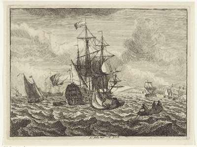 Zeegezichten met schepen en roeiboot