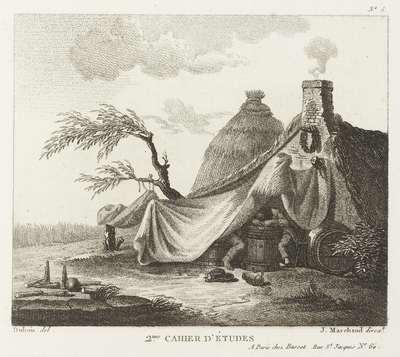 Mensen zitten bij een ton onder een afdak van doek bij een huis; Deuxième Cahier D'Études