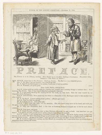 Mr. Punch ontvangt Lord Derby in zijn studeervertrek