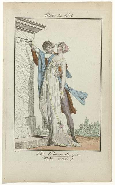 Modes et Manières du Jour, 1799-1800, No. 14 : La Phrase changée. (Robe croisée)