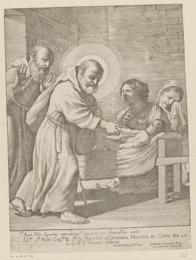 Heilige Felix van Cantalice wekt een kind tot leven; Il Beato Felice Capuccino miracolosamente resuscito un fanciullino morto