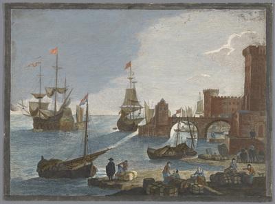 Gezicht op een zeehaven met schepen en boten op het water; 11e. Vüe maritime