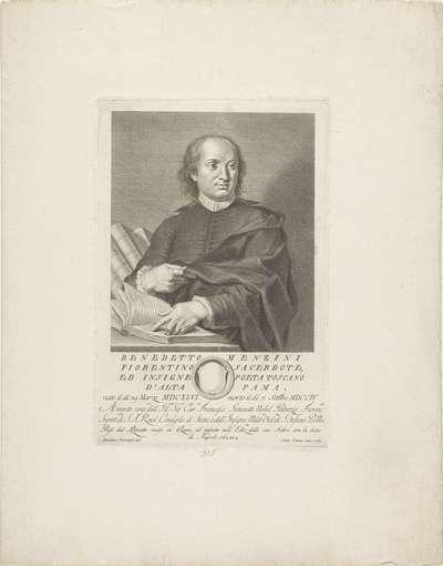 Portret van priester en dichter Benedetto Menzini; Portretten van beroemde Italianen met wapenschild in ondermarge