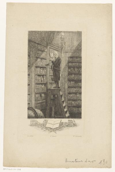 Man op een ladder in een bibliotheek; Un bibliophile conservateur