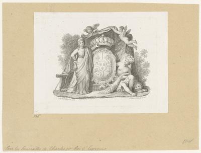 Wapenschild met twee allegorische figuren en putti