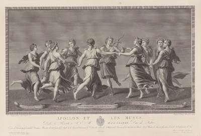 Image from object titled Apollo en de Muzen dansende. G. Romano p.; Apollo en de Muzen dansende. G. Romano p.