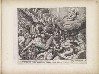 Visioen van de rijke man in de hel; Gelijkenis van de rijke man en de arme Lazarus; Theatrum Biblicum Hoc Est Historiae Sacrae Veteris et Novi Testamenti Tabulis Aeneis Expressae