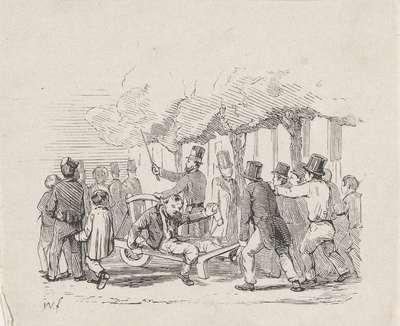 Dronkaard op een kruiwagen voortgeduwd door een groep mannen op straat; Afschaffing van sterke dranken in 1838