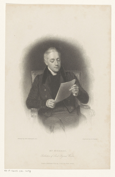 Portret van uitgever John Murray; Mr. Murray, Publisher of Lord Byron's Works